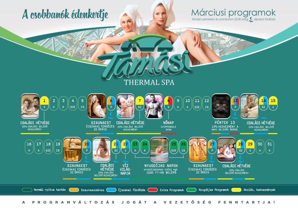 Tamási fürdő 2020 márciusi programok